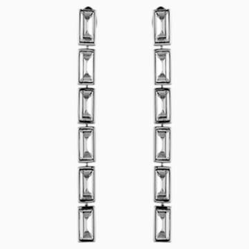 Fluid Drop Pierced Earrings, Gray, Palladium plated - Swarovski, 5455643