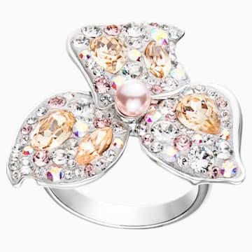 Graceful Bloom Cocktail Ring, Pink, Palladium plated - Swarovski, 5455698