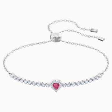 One Bracelet, Red, Rhodium plated - Swarovski, 5456813