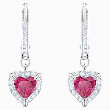 One Pierced Earrings, Red, Rhodium plated - Swarovski, 5456979