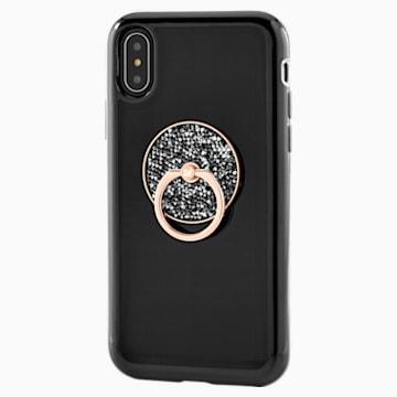 Glam Rock Кольцо-держатель для телефона, Черный Кристалл, Смешанное покрытие - Swarovski, 5457469