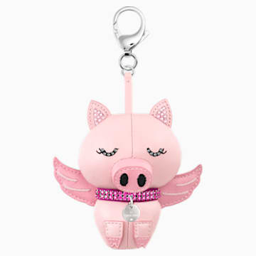 Bu Bu Bag Charm, Pink, Rhodium plating - Swarovski, 5457470