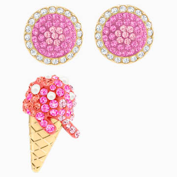 No Regrets Ice Cream 穿孔耳環, 多色設計, 鍍金色色調 - Swarovski, 5457497