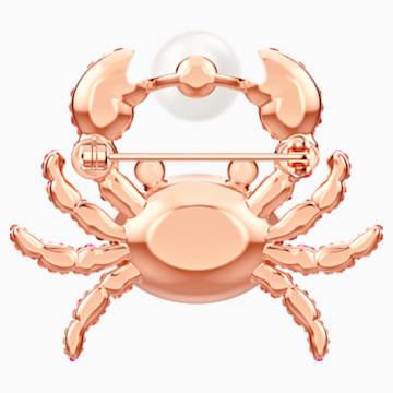 Ocean Crab 胸針, 多色設計, 鍍玫瑰金色調 - Swarovski, 5457571