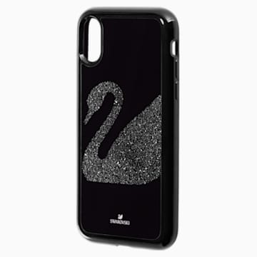 Custodia per smartphone con bordi protettivi integrati Swan Fabric, iPhone® X/XS, nero - Swarovski, 5458420