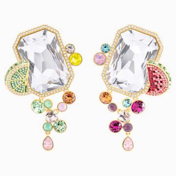 Optimum Clip Earrings, Multi-colored, Gold-tone plated - Swarovski, 5458833