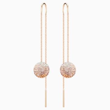 Fun Chain Pierced Earrings, Multi-colored, Rose-gold tone plated - Swarovski, 5459257