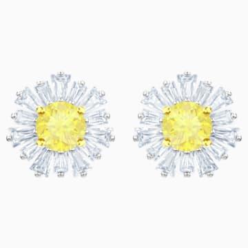 Sunshine 穿孔耳环, 白色, 镀铑 - Swarovski, 5459591