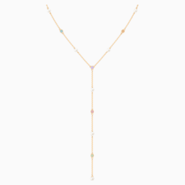 No Regrets Y Necklace, Multi-coloured, Gold-tone plated - Swarovski, 5459612