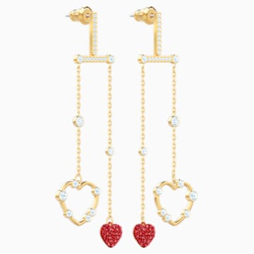 Oxo Mobile Pierced Earrings, Red, Gold-tone plated - Swarovski, 5460324
