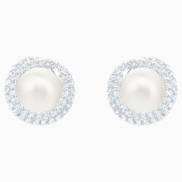 Originally Pierced Earrings, White, Rhodium plated - Swarovski, 5461087