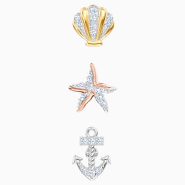 Ocean 穿孔耳環, 多色設計, 混搭多種鍍層 - Swarovski, 5462582