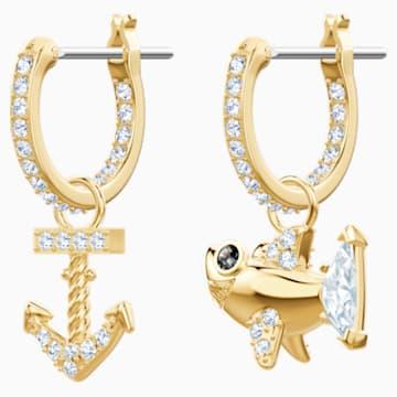 Boucles d'oreilles Ocean Shark, blanc, métal doré - Swarovski, 5463738
