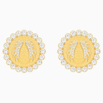 Lucky Goddess Clip Earrings, White, Gold-tone plated - Swarovski, 5464120