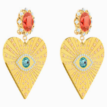 Lucky Goddess Heart Clip Earrings, Multi-colored, Gold-tone plated - Swarovski, 5464131