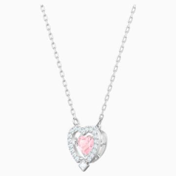Colier inimă Swarovski Sparkling Dance, roz, placat cu rodiu - Swarovski, 5465284