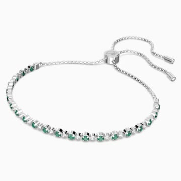 Subtle Bracelet, Green, Rhodium plated - Swarovski, 5465355