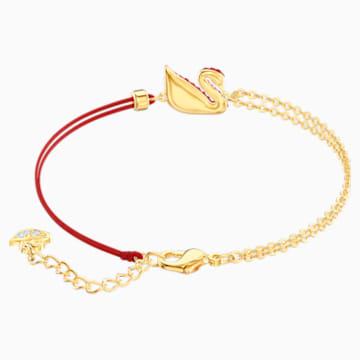 Iconic Swan Bracelet, Red, Gold-tone plated - Swarovski, 5465403