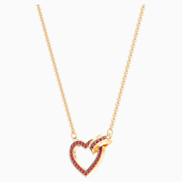 Lovely Necklace, Red, Gold-tone plated - Swarovski, 5465683