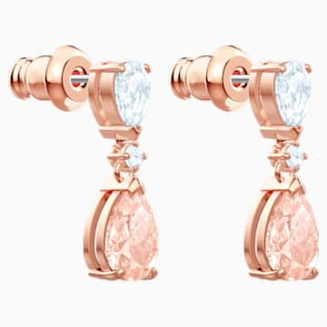 Vintage Pierced Earrings, Pink, Rose-gold tone plated - Swarovski, 5466888