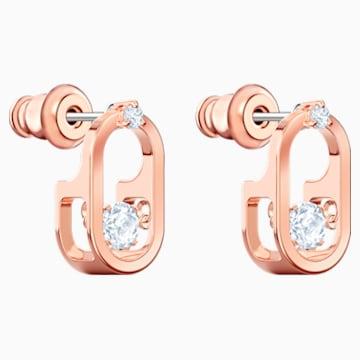 Sparkling Dance 穿孔耳环, 白色, 镀玫瑰金色调 - Swarovski, 5468118