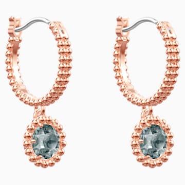 Oxygen Pierced Earrings, Gray, Rose-gold tone plated - Swarovski, 5468739