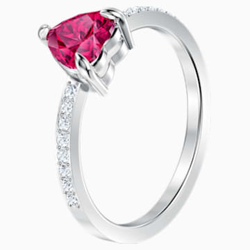 One Heart Ring, Red, Rhodium plated - Swarovski, 5469980