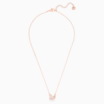 Dazzling Swan 项链, 彩色设计, 镀玫瑰金色调 - Swarovski, 5469989