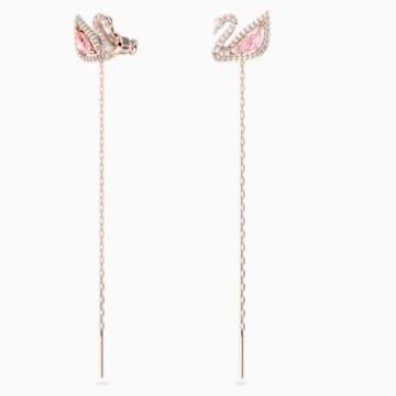Dazzling Swan 穿孔耳环, 彩色设计, 镀玫瑰金色调 - Swarovski, 5469990