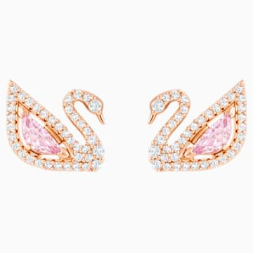 Dazzling Swan Pierced Earrings, Multi-coloured, Rose-gold tone plated - Swarovski, 5469990