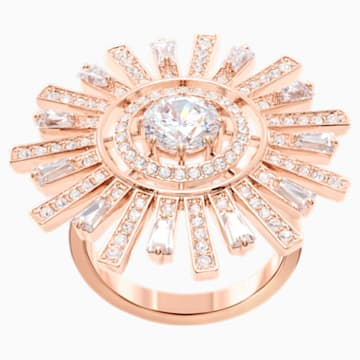Sunshine Cocktail Ring, White, Rose-gold tone plated - Swarovski, 5470397