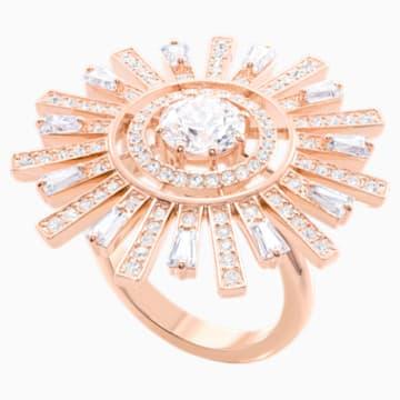 Napsugár koktélgyűrű, fehér, rózsaarany árnyalatú bevonattal - Swarovski, 5470397
