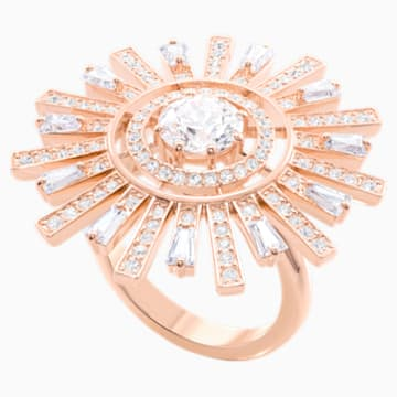 Sunshine 鸡尾酒戒指, 白色, 镀玫瑰金色调 - Swarovski, 5470397