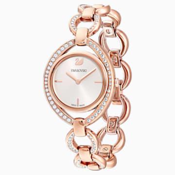 Ρολόι Stella, μεταλλικό μπρασελέ, λευκό, PVD σε χρυσή ροζ απόχρωση - Swarovski, 5470415