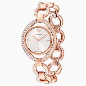 Stella-horloge, Metalen armband, Wit, Roségoudkleurig PVD - Swarovski, 5470415