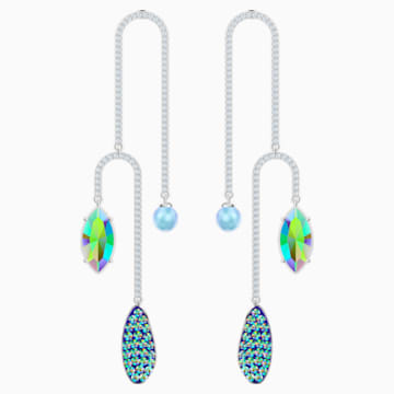 Organic Pierced Earrings, Multi-colored, Rhodium plated - Swarovski, 5470517