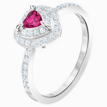 One 戒指, 紅色, 鍍白金色 - Swarovski, 5470697