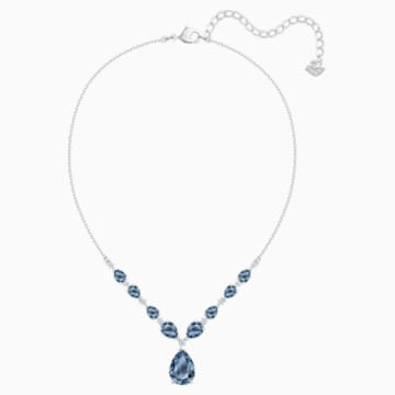 Vintage 項鏈, 藍色, 鍍白金色 - Swarovski, 5472614