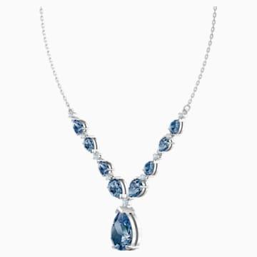 Collar Vintage, azul, Baño de Rodio - Swarovski, 5472614
