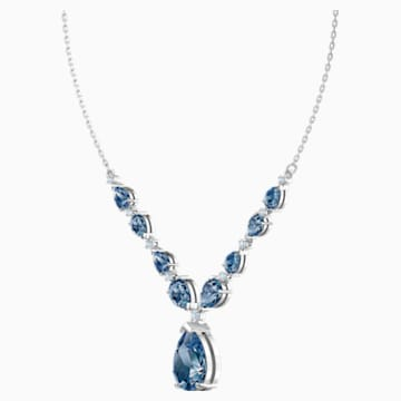 Vintage Necklace, Blue, Rhodium plated - Swarovski, 5472614