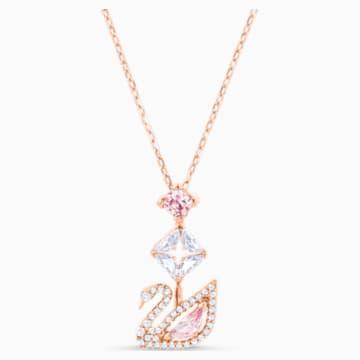 Dazzling Swan Y形项链, 彩色设计, 镀玫瑰金色调 - Swarovski, 5473024
