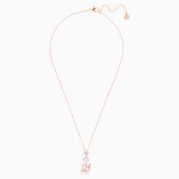 Collier en Y Dazzling Swan, multicolore, Métal doré rose - Swarovski, 5473024