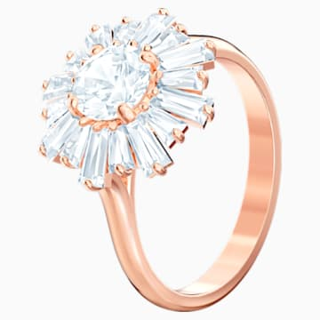 Sunshine Ring, White, Rose-gold tone plated - Swarovski, 5474918