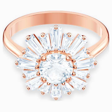 Sunshine Ring, White, Rose-gold tone plated - Swarovski, 5474921