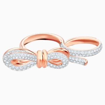 Anillo doble Lifelong Bow, blanco, Combinación de acabados metálicos - Swarovski, 5474927