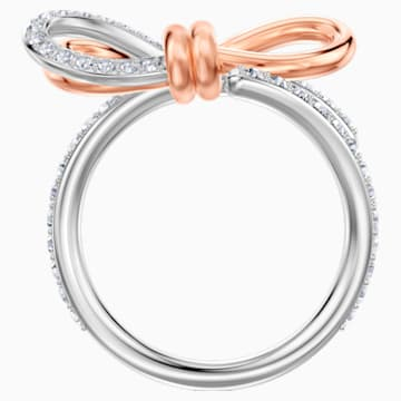 Anillo Lifelong Bow, mediano, blanco, Combinación de acabados metálicos - Swarovski, 5474930