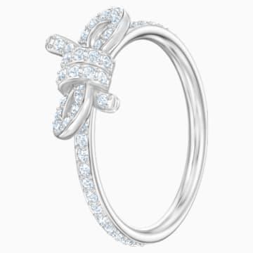 Lifelong Bow 戒指, 細碼, 白色, 鍍白金色 - Swarovski, 5474934