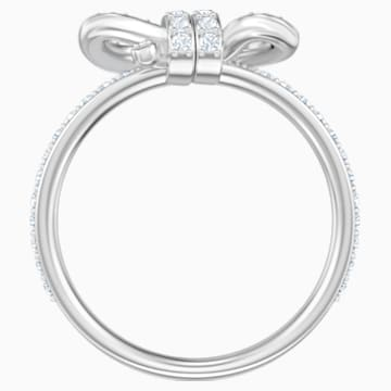 Lifelong Bow 戒指, 細碼, 白色, 鍍白金色 - Swarovski, 5474935