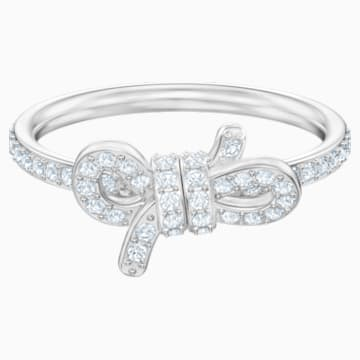 Lifelong Bow 戒指, 細碼, 白色, 鍍白金色 - Swarovski, 5474936