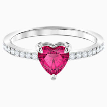 One Heart Ring, Red, Rhodium plated - Swarovski, 5474942